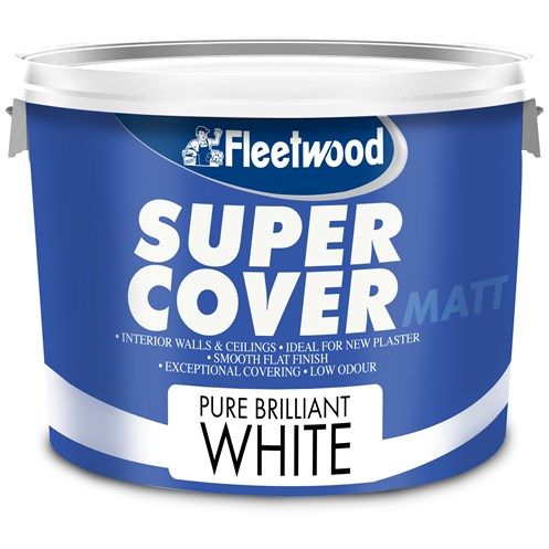 Fleetwood Super Cover Matt Pure Brilliant White Paint - 10 Litre