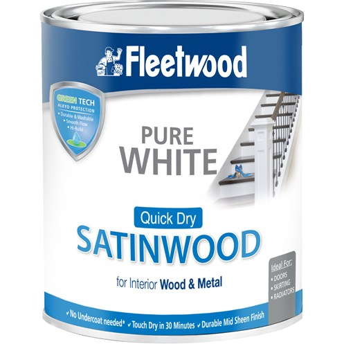 Fleetwood Quick Dry Satinwood Pure White Paint - 750ml