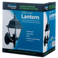 Powermaster  4 Sided Wall Lantern Black - 60W