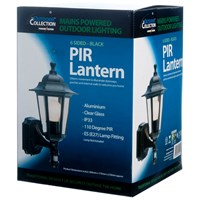 Powermaster  6 Sided PIR Wall Lantern Black - 60W