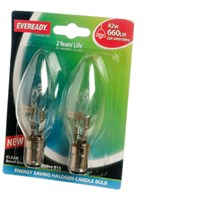Eveready  Eco Halogen Candle Light Bulb 42W SBC - 2 Pack