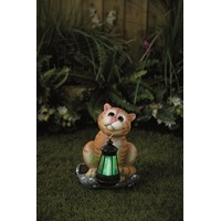 Premier Decorations  Cat Ornament Statue with Solar Lantern