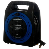 Powermaster  25m Open Cable Reel Cassette - 10 Amp 2 Gang