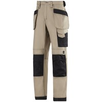 Snickers  3214 Craftsmen Canvas+ Holster Pocket Trousers - Khaki/Black