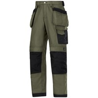 Snickers  3214 Craftsmen Canvas+ Holster Pocket Trousers - Green/Black