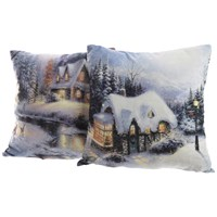 Lumineo  LED Lit Winter Scene Cushion